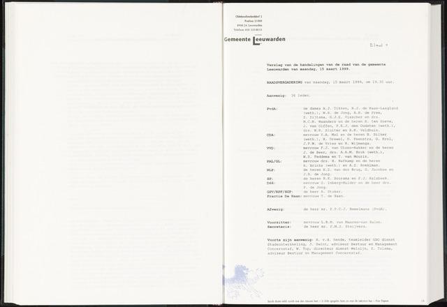 Raadsverslagen van de gemeente Leeuwarden, 1865-2007 (Notulen) 1999-03-15