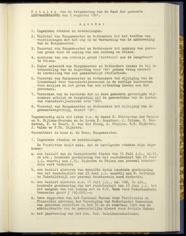 Notulen van de gemeenteraad van Leeuwarderadeel 1961-08-03