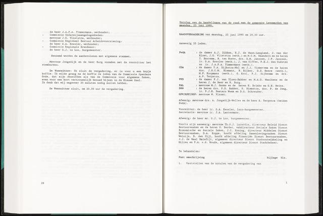 Raadsverslagen van de gemeente Leeuwarden, 1865-2007 (Notulen) 1990-06-25