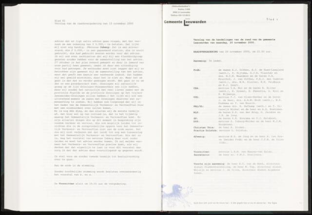 Raadsverslagen van de gemeente Leeuwarden, 1865-2007 (Notulen) 2000-11-20