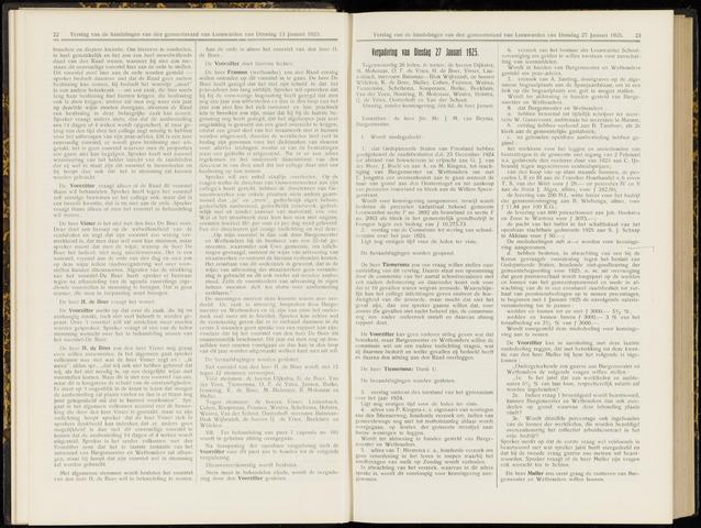 Raadsverslagen van de gemeente Leeuwarden, 1865-2007 (Notulen) 1925-01-27