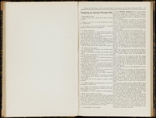 Raadsverslagen van de gemeente Leeuwarden, 1865-2007 (Notulen) 1895-11-09