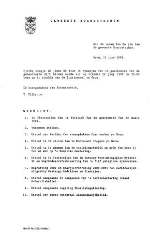 Boarnsterhim vergaderstukken gemeenteraad  1999-06-22