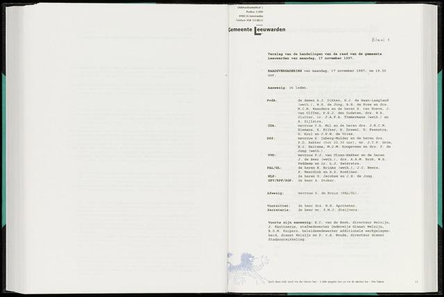 Raadsverslagen van de gemeente Leeuwarden, 1865-2007 (Notulen) 1997-11-17