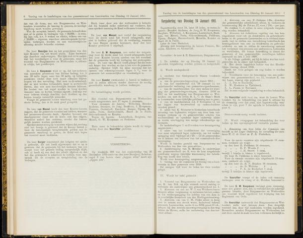Raadsverslagen van de gemeente Leeuwarden, 1865-2007 (Notulen) 1911-01-24