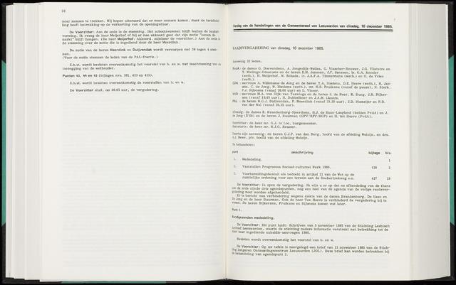 Raadsverslagen van de gemeente Leeuwarden, 1865-2007 (Notulen) 1985-12-10
