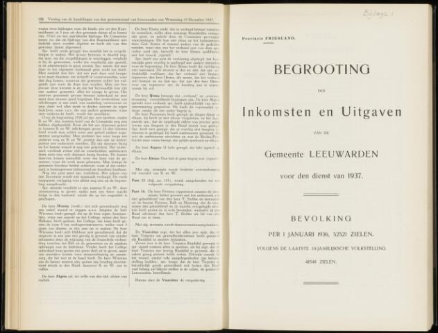 Raadsverslagen van de gemeente Leeuwarden, 1865-2007 (Bijlagen) 1937-01-01