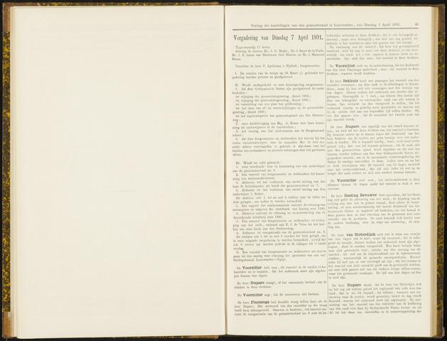 Raadsverslagen van de gemeente Leeuwarden, 1865-2007 (Notulen) 1891-04-07