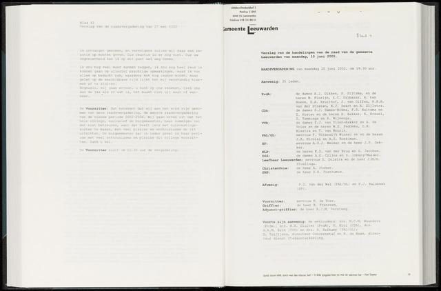 Raadsverslagen van de gemeente Leeuwarden, 1865-2007 (Notulen) 2002-06-10