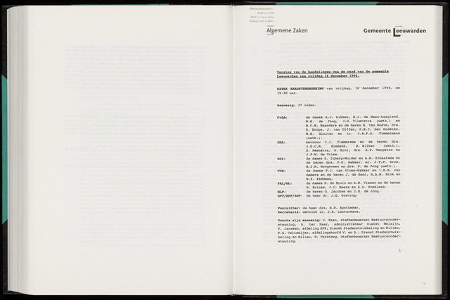 Raadsverslagen van de gemeente Leeuwarden, 1865-2007 (Notulen) 1994-11-16