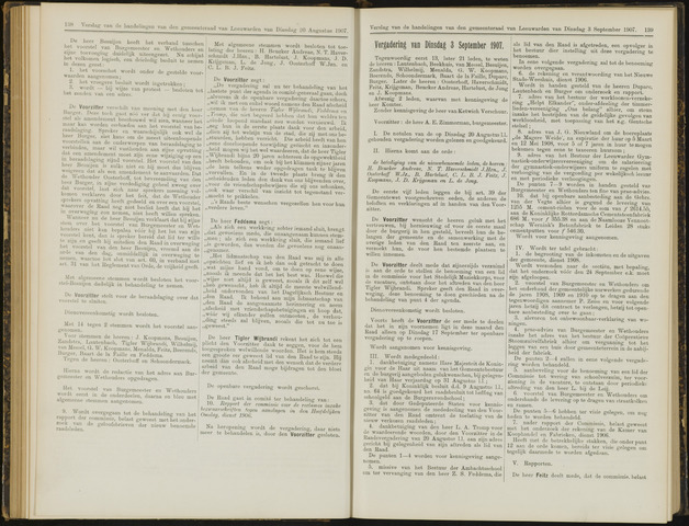 Raadsverslagen van de gemeente Leeuwarden, 1865-2007 (Notulen) 1907-09-03