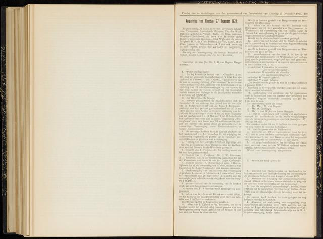 Raadsverslagen van de gemeente Leeuwarden, 1865-2007 (Notulen) 1920-12-27
