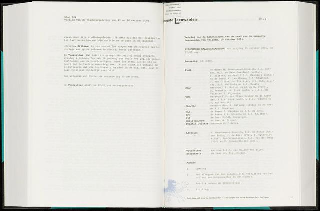 Raadsverslagen van de gemeente Leeuwarden, 1865-2007 (Notulen) 2001-10-19