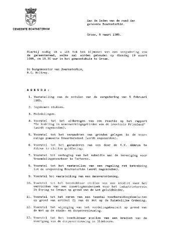 Boarnsterhim vergaderstukken gemeenteraad  1985-03-19