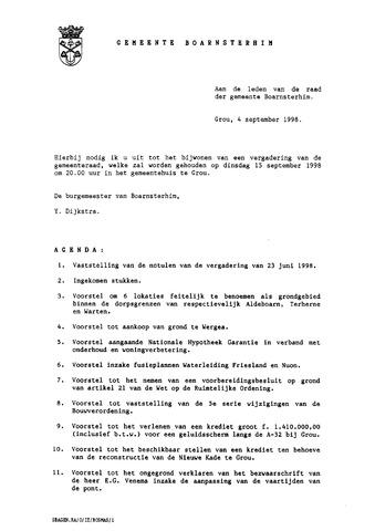 Boarnsterhim vergaderstukken gemeenteraad  1998-09-15