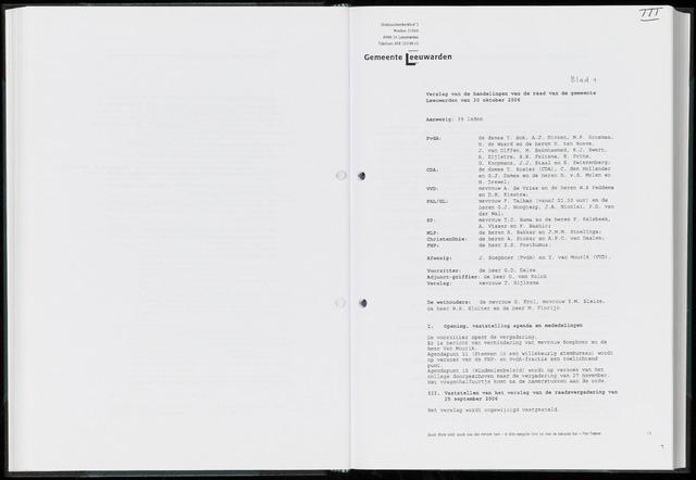 Raadsverslagen van de gemeente Leeuwarden, 1865-2007 (Notulen) 2006-10-30