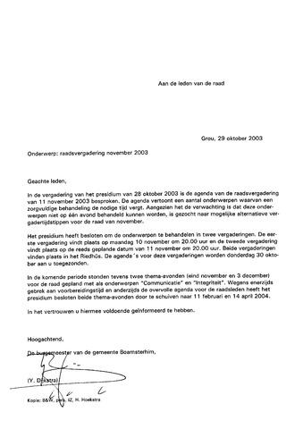 Boarnsterhim vergaderstukken gemeenteraad  2003-11-10