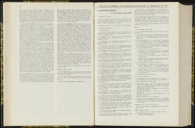 Raadsverslagen van de gemeente Leeuwarden, 1865-2007 (Notulen) 1953-07-22