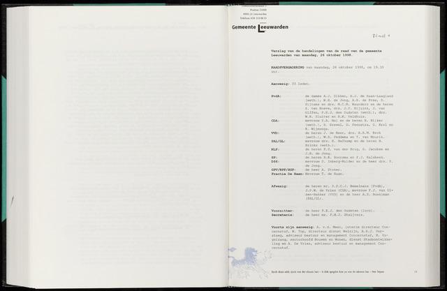 Raadsverslagen van de gemeente Leeuwarden, 1865-2007 (Notulen) 1998-10-26