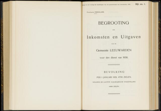 Raadsverslagen van de gemeente Leeuwarden, 1865-2007 (Bijlagen) 1930-01-01