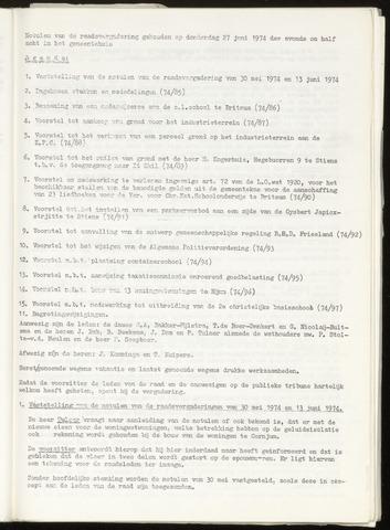 Notulen van de gemeenteraad van Leeuwarderadeel 1974-06-27