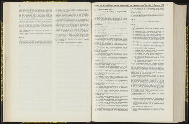 Raadsverslagen van de gemeente Leeuwarden, 1865-2007 (Notulen) 1953-08-12