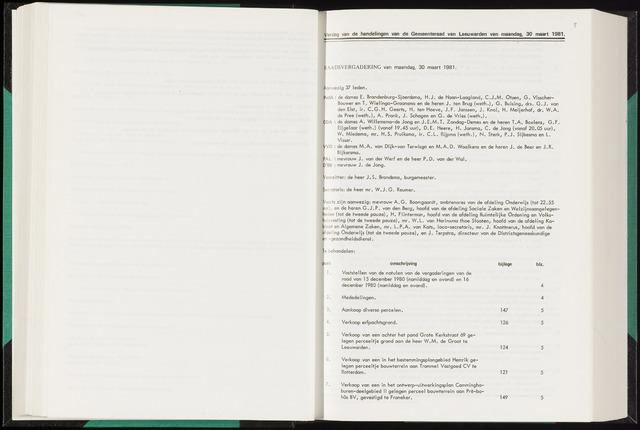 Raadsverslagen van de gemeente Leeuwarden, 1865-2007 (Notulen) 1981-03-30