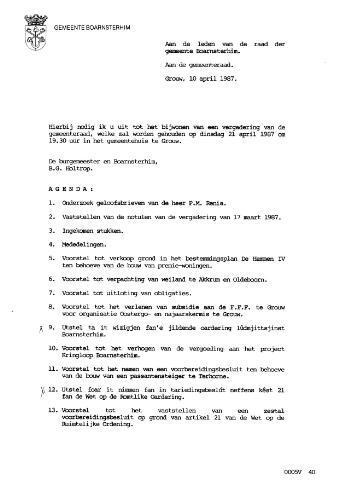Boarnsterhim vergaderstukken gemeenteraad  1987-04-21