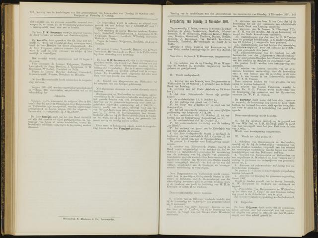 Raadsverslagen van de gemeente Leeuwarden, 1865-2007 (Notulen) 1907-11-12