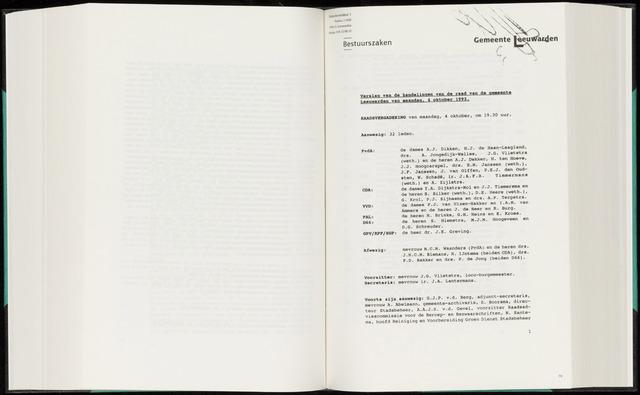 Raadsverslagen van de gemeente Leeuwarden, 1865-2007 (Notulen) 1993-10-04