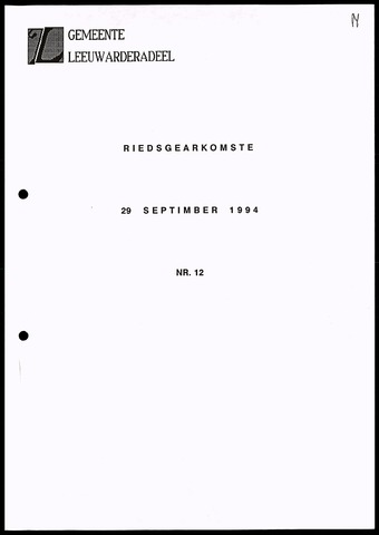 Notulen van de gemeenteraad van Leeuwarderadeel 1994-09-29