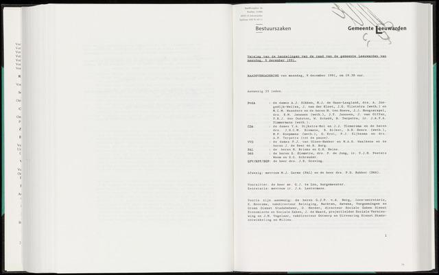 Raadsverslagen van de gemeente Leeuwarden, 1865-2007 (Notulen) 1991-12-09