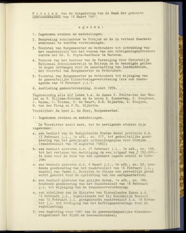 Notulen van de gemeenteraad van Leeuwarderadeel 1961-03-16