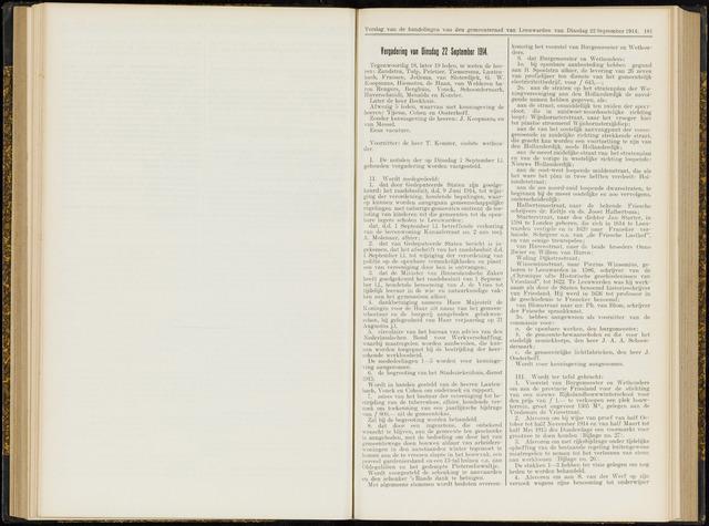 Raadsverslagen van de gemeente Leeuwarden, 1865-2007 (Notulen) 1914-09-22