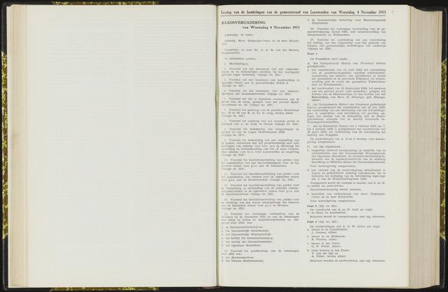 Raadsverslagen van de gemeente Leeuwarden, 1865-2007 (Notulen) 1953-11-04