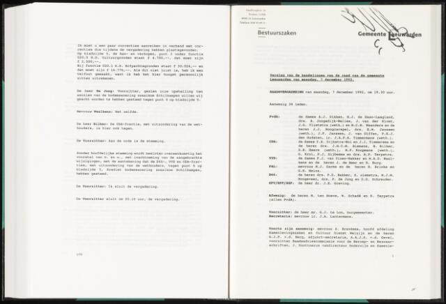 Raadsverslagen van de gemeente Leeuwarden, 1865-2007 (Notulen) 1992-12-07