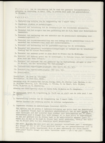 Notulen van de gemeenteraad van Leeuwarderadeel 1966-04-14