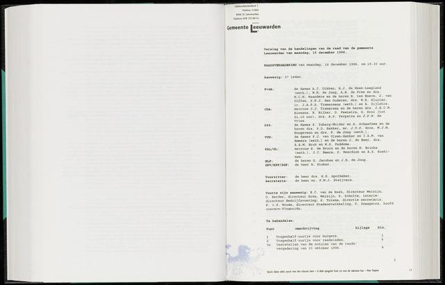 Raadsverslagen van de gemeente Leeuwarden, 1865-2007 (Notulen) 1996-12-16