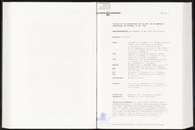 Raadsverslagen van de gemeente Leeuwarden, 1865-2007 (Notulen) 1999-05-31