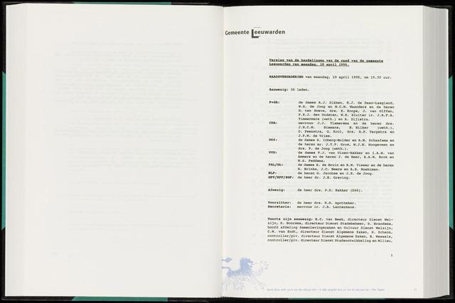 Raadsverslagen van de gemeente Leeuwarden, 1865-2007 (Notulen) 1995-04-10