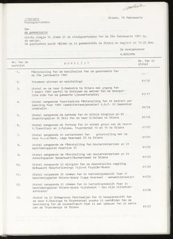Notulen van de gemeenteraad van Leeuwarderadeel 1981-02-25