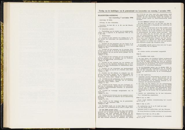Raadsverslagen van de gemeente Leeuwarden, 1865-2007 (Notulen) 1956-11-07