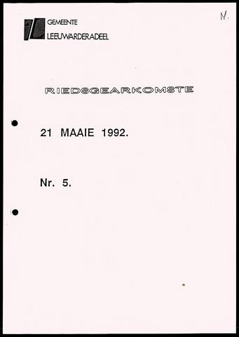 Notulen van de gemeenteraad van Leeuwarderadeel 1992-05-21