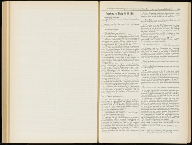 Raadsverslagen van de gemeente Leeuwarden, 1865-2007 (Notulen) 1936-07-14