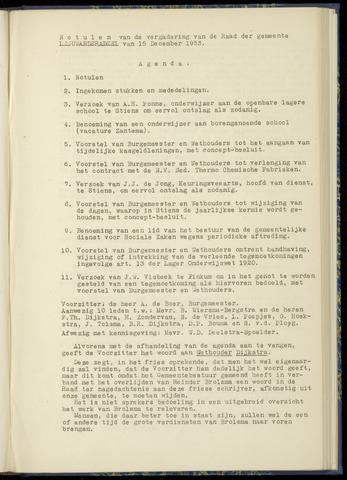 Notulen van de gemeenteraad van Leeuwarderadeel 1953-12-15