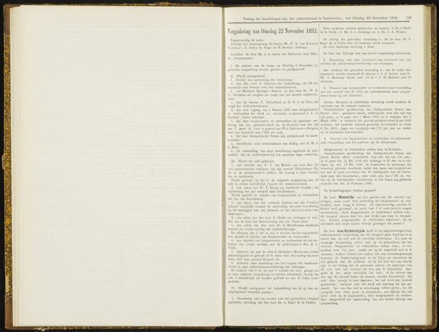 Raadsverslagen van de gemeente Leeuwarden, 1865-2007 (Notulen) 1892-11-22