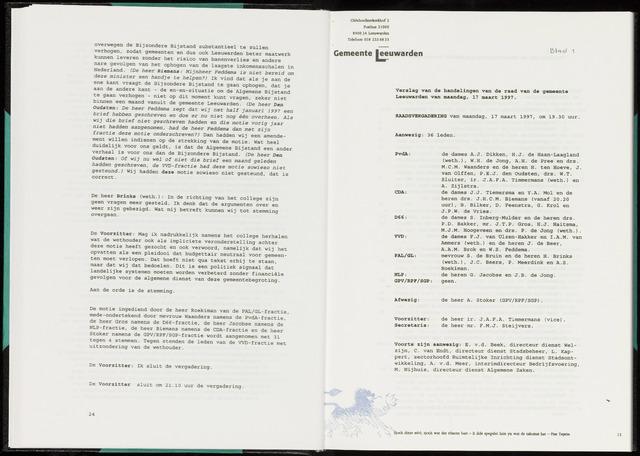 Raadsverslagen van de gemeente Leeuwarden, 1865-2007 (Notulen) 1997-03-17