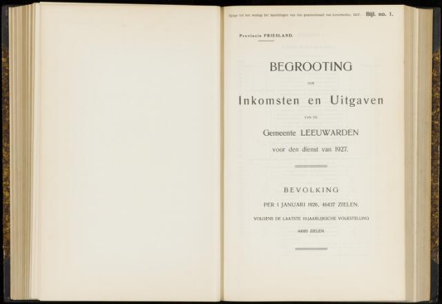 Raadsverslagen van de gemeente Leeuwarden, 1865-2007 (Bijlagen) 1927-01-01