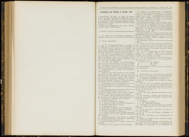 Raadsverslagen van de gemeente Leeuwarden, 1865-2007 (Notulen) 1910-10-11