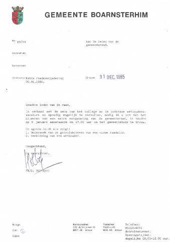 Boarnsterhim vergaderstukken gemeenteraad  1986-01-06